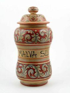 Handpainted Italian Ceramic Apothecary Jar Made in Gubbio, Umbria - http://cookware.everythingreviews.net/8899/handpainted-italian-ceramic-apothecary-jar-made-in-gubbio-umbria.html