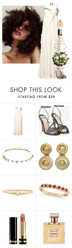 """The Grecian Goddess Bride"" by xoxomuty on Polyvore featuring Matthew Williamson, Gucci, Jennifer Behr, Versace, Rivière, Allurez, Chanel, bride, ootd and wedding"