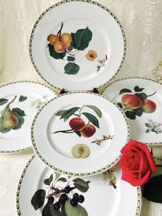 Queen\u0027s HOOKERS FRUIT Dinner Plates Set of 5 Plum Peach Pear Apple Black Cherry & 2 Mikasa Italian Countryside Dinner plates White Made in Japan ...