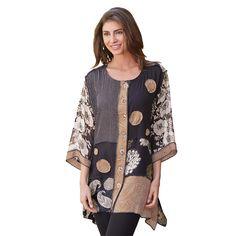 Gala Big Shirt Asymmetrical 3/4 Sleeve Tunic Top at Signals   HP9882
