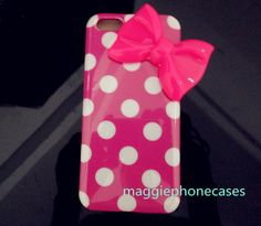 White dot soft rubber hot pink  iphone 5c case by maggiephonecases, $10.99
