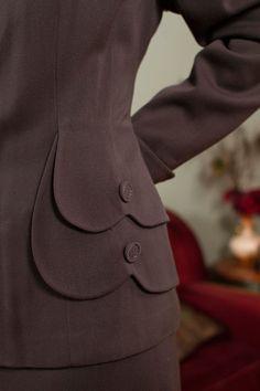 1940s Vintage Suit Gorgeous Steel Grey Gabardine Suit by FabGabs