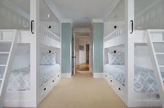 pacific - traditional - bedroom - orange county - Patterson Custom Homes Double Bunk Beds, Bunk Beds Built In, Modern Bunk Beds, Cool Bunk Beds, Kids Bunk Beds, Sleepover Room, Bunk Bed Rooms, Modern Lake House, Bunk Bed Designs
