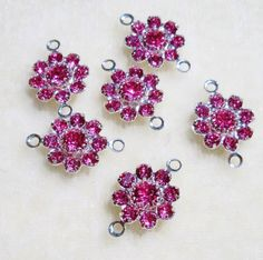 Swarovski Crystal Flowers Jewelry Links ROSE Pink 6 pcs Great Findings for Bracelets/Earrings/Necklaces by Gstrands on Etsy Crystal Design, Swarovski Crystal Beads, Jewelry Supplies, Pink Roses, Belly Button Rings, Bracelets, Necklaces, Earrings, Flowers