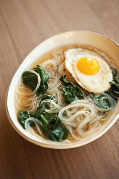 spinach & vermicelli soup with a fried egg