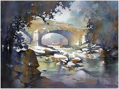 Chesneys Bridge - Northern Island by Thomas W. Schaller Watercolor ~ 24 inches x 18 inches