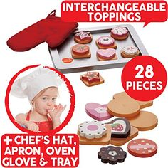 Bee Smart — Wooden Cookie Biscuit Baking Set with wooden pretend play toy food - Magnetic Pretend Food Set - Wooden Kitchen Accessories - 28 pieces