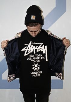 Stussy. Brand. Clothing. Men. Fashion. Street. Black & White. Tee. World Tour. Typo. Carhartt. Cap. Style. Youth.