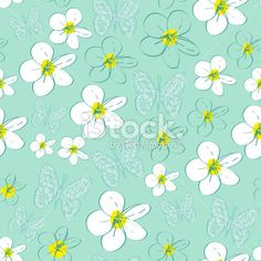 Seamless pattern with white flowers on a blue background. vector Royalty Free Stock Vector Art Illustration