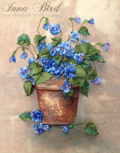 FRAMED Violets in a Terracotta Pot Ribbon by SilkRibbonCreative