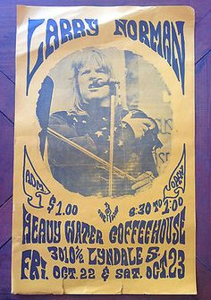 "LARRY NORMAN - VINTAGE EARLY '70s CONCERT POSTER | eBay  --This is an authentic concert poster from the '70's. If you look closely, you can see that the type was made with some kind of ""sharpie"", and you can see the pencil marking the circle outline on the photograph, before the artist tore it out and then pasted it to the page. Love the layout, and have nothing but respect for the process artists had to go through to make their work -BEFORE digital. Whew!"
