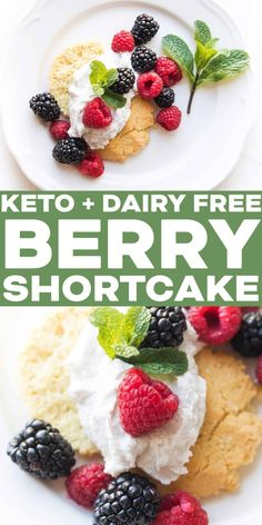 This Keto berry shortcake recipe is the easiest, lightest, most satisfying spring homemade dessert! A healthy low carb savory biscuit topped with dairy free whipped cream and berries. #keto #dessert #shortcake Primal Recipes, Dairy Free Recipes, Low Carb Recipes, Real Food Recipes, Gluten Free, Whole30 Recipes, Homemade Desserts, No Bake Desserts, Healthy Desserts