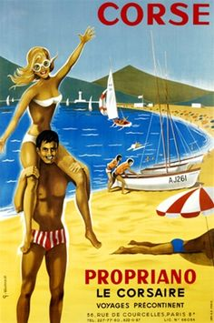 Corse poster by Lecureux from 1969 France - Beautiful Vintage Posters Reproductions Ads.