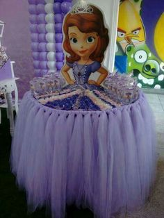 Princesa Sofia Dessert Table for parties Princess Sofia Birthday, Sofia The First Birthday Party, Disney Princess Party, 4th Birthday Parties, Princess Sophia, 3rd Birthday, Birthday Ideas, Tangled Birthday, Tangled Party