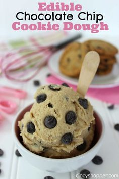 Edible Chocolate Chip Cookie Dough Recipe. Cookie Dough Heaven! That's all that is needed to be said! Perfect by itself or in ice cream too!
