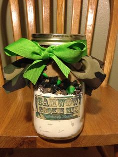 CamWow Camouflage Mason Jar Cookie Mix  by FabRustic on Etsy