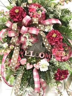 This Valentine Wreath as well as Spring & Summer Wreath will be beautiful on your front door. Hang it up now for Valentines Day, and as soon as that Holiday is over, remove the Welcome sign with hearts -- and... VOILA you have a Spring and Summer Wreath to last for several months! You