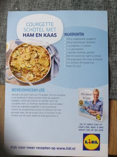 Courgetteschotel met ham en kaas Good Food, Yummy Food, Weight Watchers Meals, Diy Food, Quick Easy Meals, Pasta Recipes, Oven, Food And Drink, Low Carb
