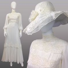VINTAGE 70s HIGH NECK WEDDING DRESS & HAT SET NEW!. Check it out! Price: $291 Size: XS - S