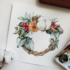 Image may contain: flower and plant Wreath Watercolor, Watercolor Print, Watercolour Painting, Watercolor Flowers, Christmas Drawing, Christmas Art, Botanical Illustration, Watercolor Illustration, Gouache
