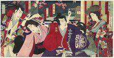 Tametomo's Engagement to Princess Shiranui by Chikanobu (1838 - 1912)