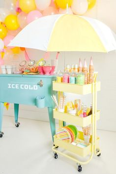 Kara's Party Ideas Ice Cream Sorbet Party with the New Lexington Cart Ice Cream Party, Ice Cream Theme, Ice Cream Buffet, Anniversaire Candy Land, Pastell Party, Ice Cream Stand, Ice Cream Social, Icecream Bar, Partys
