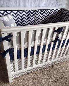 Crib bedding Baby Bedding Crib Set Cot Set - Gray Elephants and Navy Chevron on Etsy, $275.00