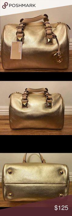 "NEW-Michael Kors MK Grayson Gold Satchel Purse Bag NEW-Michael Kors MK Grayson Gold Satchel Purse Bag HAS SCUFFS ON LEATHER (see pictures)  *Authentic *NWT *Style # 35T5MGYS2M  *MK Medium Grayson satchel *Pale gold color  *100% leather *Gold-tone hardware *Zipper closure  *Attached MK emblem  *Measurements: 8"" H x 11"" L x 7"" D *6.5"" handles  *Inside slip (4) and zip (1) pockets Michael Kors Bags Satchels"