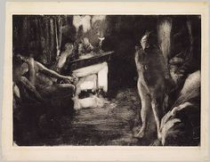 The Fireside, ca. 1876–77  Edgar Degas (French, 1834–1917)  Monotype in black ink on white heavy laid paper  Plate: 16 3/4 x 23 1/16 in. (42.5 x 58.6 cm); sheet: 19 3/4 x 25 1/2 in. (50.2 x 64.8 cm)    During the 1870s, when novels by J.-K. Huysmans, Edmond de Goncourt, and Émile Zola focused on the flourishing profession of prostitution, Degas too studied the world of the maisons closes, and made about fifty smudged drawings in greasy ink on glass or metal plates which he printed as…