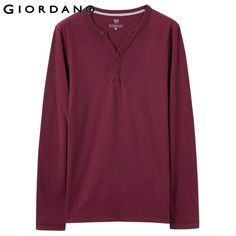 Giordano Men T-shirt Henley Long Sleeves Soft Cotton Solid Camisetas Jersey Casual Clothes Man Tees Brand Famous