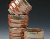 Wood fired Shot Glasses with Shino and Natural Ash Glaze #2 (set of 4)
