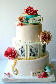 Alice in Wonderland Wedding Cake by Tammy Youngerwood - http://cakesdecor.com/cakes/257476-alice-in-wonderland-wedding-cake