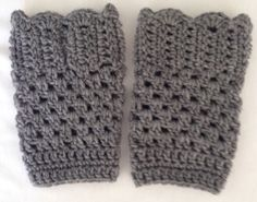 Gorgeous Grey Heather Crochet Boot Cuffs, Ladies - Teen, Leg Warmer, Boot Sock by TMStreasures on Etsy