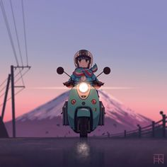 This is the first collab I've done, with my artist friend I was first recommended to watch yuru camp… Anime Motorcycle, Digital Art Girl, Anime Scenery, Anime Art Girl, Japanese Art, Cartoon Art, Aesthetic Anime, Kawaii Anime, Anime Characters