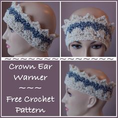 Crochet Headbands FREE crochet pattern for a Crown Ear Warmer. - FREE crochet pattern for a Crown Ear Warmer. The ear warmer pattern is easy to adjust to any size needed from child to adult. Crochet Headband Free, Crochet Crown, Crochet Baby Boots, Free Crochet, Crochet Hats, Irish Crochet, Russian Crochet, Doilies Crochet, Crochet Edgings