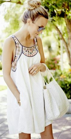 White Relaxed Embellished Collar And Straps Swing Dress