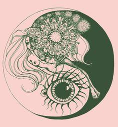 (via art, eye, trippy, woman, yang, ying -...