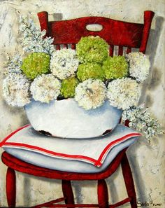 Artist ~ Stella Bruwer South Africa white enamel basin with white and green flowers on white cushion with red stripe on redish wooden chair Flower Canvas, Flower Art, Art Flowers, Green Flowers, Canvas And Cocktails, Stella Art, Country Art, Decoupage Paper, Art Themes