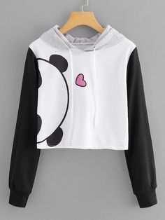 To find out about the Drawstring Hoodie Cartoon Print Sweatshirt at SHEIN, part of our latest Sweatshirts ready to shop online today! Cute Sweatshirts, Cool Hoodies, Printed Sweatshirts, Hooded Sweatshirts, Girls Fashion Clothes, Teen Fashion Outfits, Fashion Dresses, Sweat Shirt, Kawaii Clothes