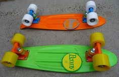 Two Fresh Penny Skateboards. Our Summer Transportation. - Green, Orange and Yellow and Orange, Blue and White - Penny Skateboards
