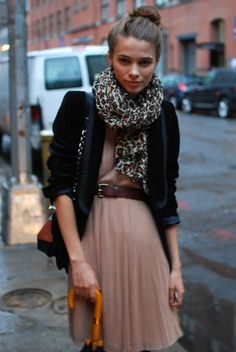 belted pleated dress / blazer / leopard scarf / transition outfit