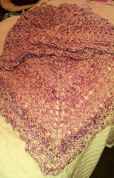 Beautiful purple hand knit shawl measuring 60 X 30 will keep you warm on the…