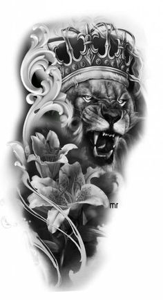 Lion tattoos hold different meanings. Lions are known to be proud and courageous creatures. So if you feel that you carry those same qualities in you, a lion tattoo would be an excellent match Future Tattoos, New Tattoos, Body Art Tattoos, Tattoos For Guys, Clock Tattoo Design, Lion Tattoo Design, Tattoo Designs, Tattoo Ideas, Lion Tattoo Sleeves