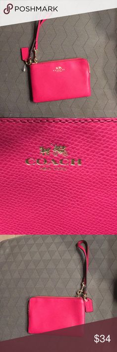 "Coach Pink Leather Wristlet Zip Wallet Ruby pink Coach crossgrain leather wristlet corner zip wallet. Wristlet embossed with COACH signature logo in gold. Pink leather wristlet strap and COACH imprinted hangtag. Top zipper closure with corner zip. Pink interior lining with 2 credit card slotted pockets. Coach brass hardware. 6.25"" x 4.25"" 100% Authentic. Perfect for cards, keys, feminine products, money, make up, etc. Brand new, never used. PERFECT VALENTINES GIFT 💘💘💘 Coach Bags Clutches…"