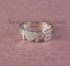 Custom Ring  Diamond Name Ring  Silver Name Ring  by Bestyle, $40.00