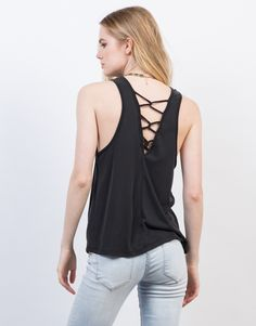 Back View of Criss Cross Back Tank Top