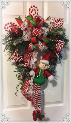Christmas WreathElf WreathPeppermint Candy Wreath Elf Door