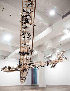 Paul Villinski, News Blanton Museum, Wings Of Desire, New York Street, Asian Art, Chandelier, Butterfly, Ceiling Lights, Sculpture, Display