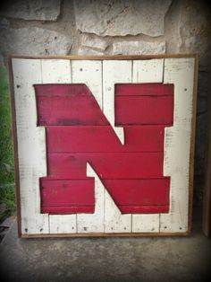Hey, I found this really awesome Etsy listing at https://www.etsy.com/listing/162117639/recycled-pallet-nebraska-husker-n