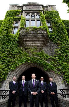 the groom in a striped tie with pocket square and the groomsmen with plain purple ties and no pocket squares...what do you think?